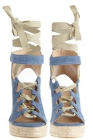 Castaner Deborah Chambray Lace-up Wedge