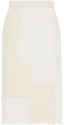 Alexander McQueen Frayed Paneled Denim Skirt
