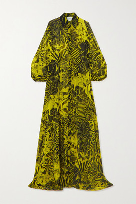 Halpern Printed Chiffon Maxi Shirt Dress - Yellow