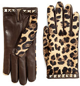 Valentino Leopard-Print Leather & Calf Hair Gloves