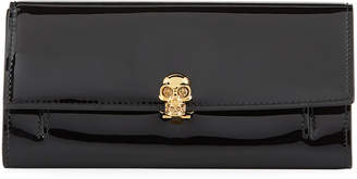 Alexander McQueen Skull-Clasp Soft Patent Flap Wallet on Chain