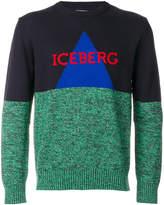Iceberg colour-block logo patch sweatshirt