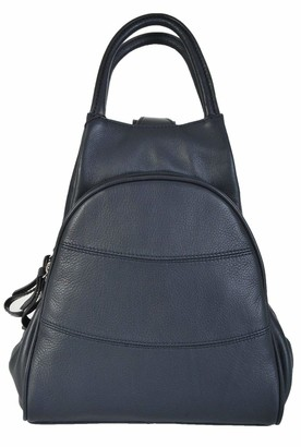 Gianni Conti Fine Italian Leather TAN OR BROWN Medium Shoulder Rucksack Backpack 584849 (Black)