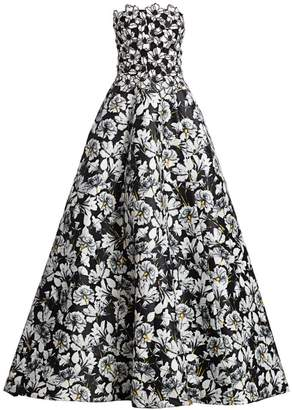 Monique Lhuillier Strapless Mixed Floral Ball Gown