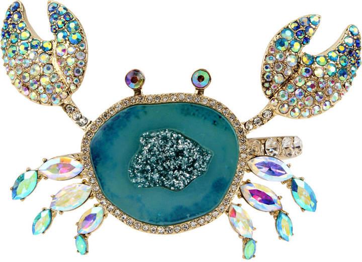 Betsey Johnson Gold-Tone Multi-Stone Crab Bangle Bracelet