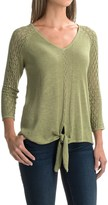 August Silk Pointelle Tie-Front Sweater (For Women)