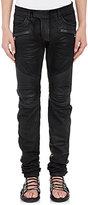 Balmain Men's Waxed-Denim Moto Jeans-BLACK