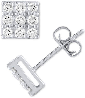 Forever Grown Diamonds Lab Grown Square Diamond Cluster Stud Earrings (1/2 ct. t.w.) in Sterling Silver