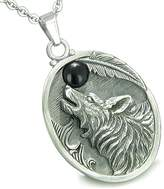 BestAmulets Amulet Howling Wolf Simulated Onyx Moon Pendant 22 Inch Necklace