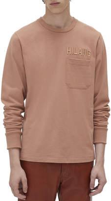 Helmut Lang Men's Raised Embroidery Long-Sleeve Pocket T-Shirt