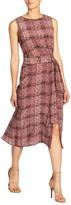 Santorelli Printed Double Georgette Sleeveless Dress w/ Front Tie Detail