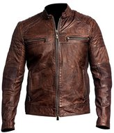 Feather Skin Men's Biker Vintage Cafe Racer Distressed Leather Jacket