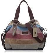 KISS GOLD(TM) Women's Canvas Multi-Color Shopper Tote Shoulder Bag