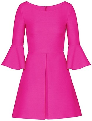 Valentino Bell-Sleeve Wool & Silk Dress