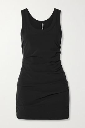 Alexander Wang Ruched Stretch-shell Mini Dress - Black