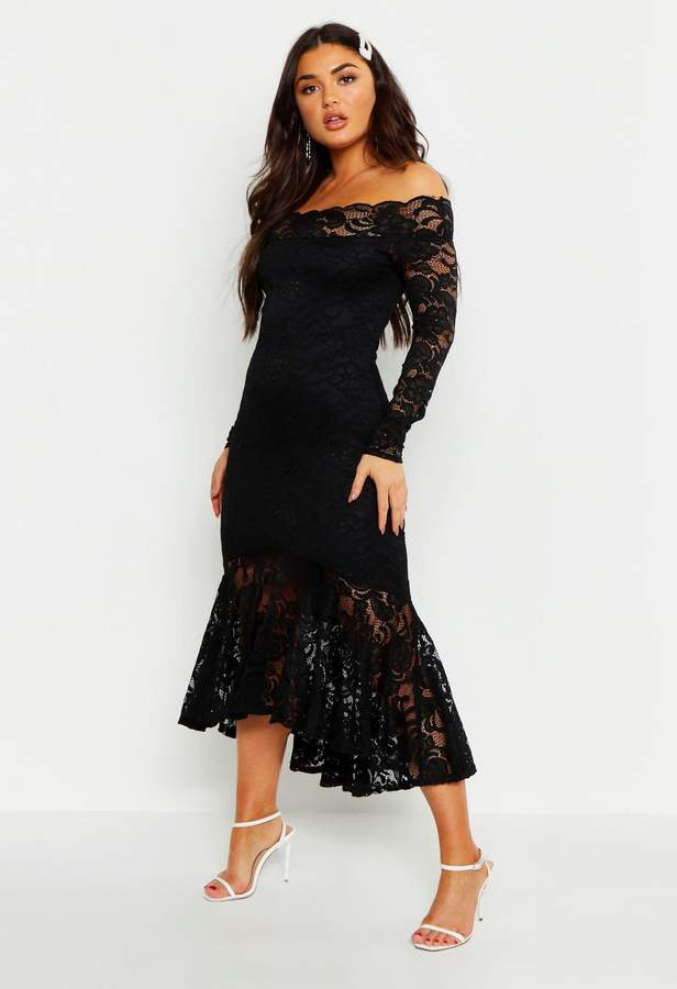 boohoo Off The Shoulder Lace Fishtail Midi Dress