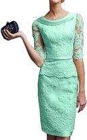 Gorgeous Bridal Short Sheath Lace Wedding Party Dress Half Sleeves Dress- US