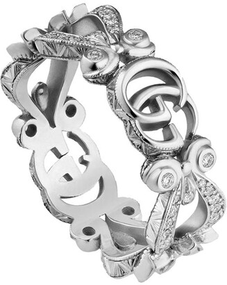 Gucci 18kt white gold pave diamonds Flora ring