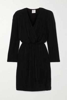 Vetements Wrap-effect Plisse Stretch-crepe Mini Dress - Black