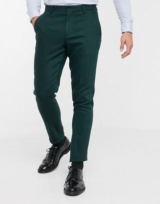 ASOS DESIGN wedding skinny suit pants in wool mix herringbone in forest green