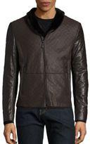 Giorgio Armani Croc-Stamped Leather Jacket