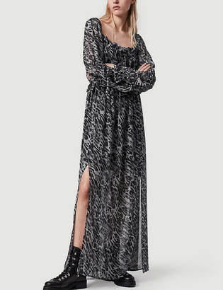 AllSaints Kimi Ambient square neck silk-blend midi dress