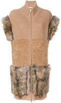 Stella McCartney Zip Up Wool Vest With Fur