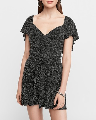 Express Pleated Wrap Front Romper
