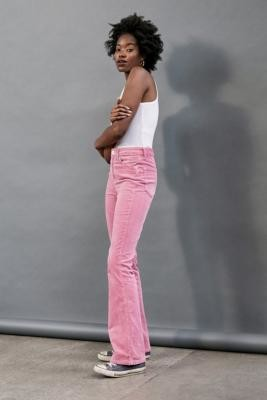 BDG Pink Corduroy Flare Jeans - Pink 24W 32L at Urban Outfitters