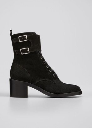 Gianvito Rossi Lagarde Suede Side-Zip Combat Booties
