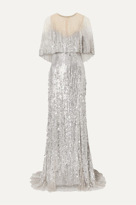 Monique Lhuillier Layered Embellished Tulle Gown - Silver