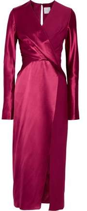 Dion Lee Wrap-Effect Silk-Satin And Crepe De Chine Midi Dress