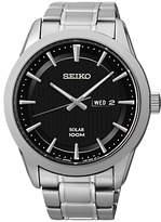 Seiko Sne363p1 Solar Bracelet Strap Watch, Silver/black
