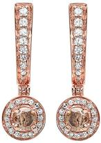Ice 1/2 CT TW Champagne and White Diamond 14K Rose Gold Dangle Earrings