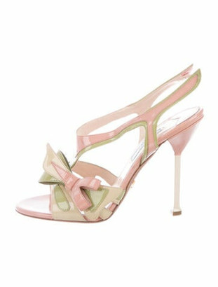 Prada Patent Leather Colorblock Pattern Slingback Sandals Green