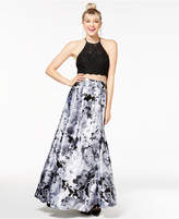 Blondie Nites Juniors' 2-Pc. Lace & Floral-Print Halter Gown