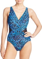 Miraclesuit Purrfection Crossover-Front One Piece Swimsuit