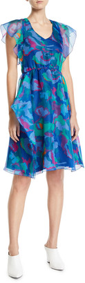 Emporio Armani V-Neck Floral Print Chiffon Dress