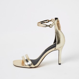 River Island Womens Gold wide fit high heel ankle cuff sandal