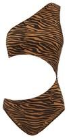 Lisa Marie Fernandez Eugenie Zebra-print Cutout Crepe Swimsuit - Womens - Brown Print