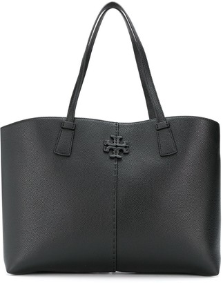 Tory Burch Logo Plaque Leather Tote Bag