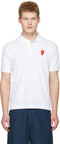Comme des Garcons White Long Heart Patch Polo