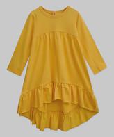 A.T.U.N. Girls' Casual Dresses Mustard - Mustard Hem Naomi Babydoll Ruffle Hi-Low Dress - Infant & Girls