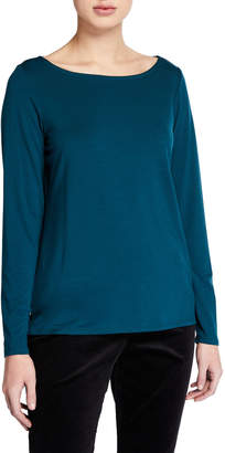 Eileen Fisher Plus Size Slim Bateau-Neck Long-Sleeve Top