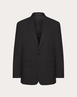 Valentino Uomo 2-button Jacket With Detail Man Black Polyester 53%, Virgin Wool 43%, Elastane 4% 44