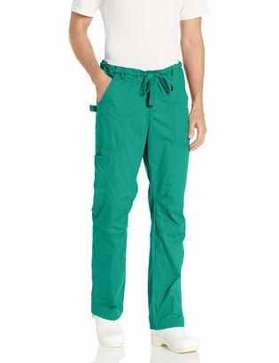KOI Men's Big-Tall James Elastic-Waist Scrub Pants with Zip Fly and Drawstring Waist