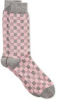 Bar III Men's Seamless Toe Patterned Pink Gingham Dress Socks, Only at Macy's