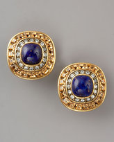 Rhinestone Lapis Clip Earrings
