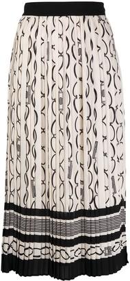 Elisabetta Franchi Chainlink Print Box Pleat Skirt