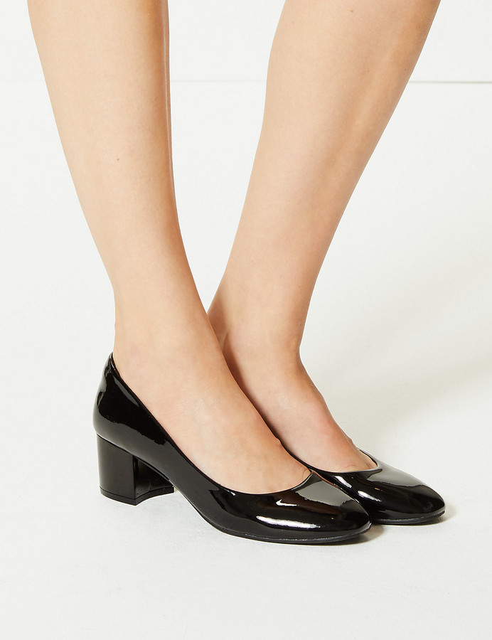 fe5042a0cd8 Leather Block Heel Court Shoes